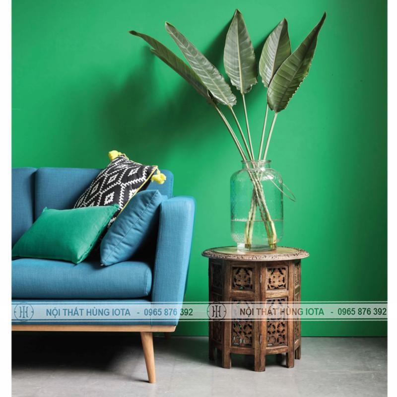 Sofa tiệm nail màu xanh, sofa salon tóc màu xanh biếc
