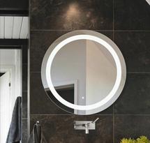 Gương cắt tóc tròn có đèn trong gương đẹp giá rẻ GCT12A