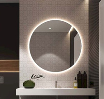 Gương cắt tóc tròn có đèn sau gương đẹp giá rẻ GCT12