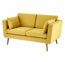 Sofa tiệm nail màu vàng, sofa gia đình đơn giản màu vàng SFS06