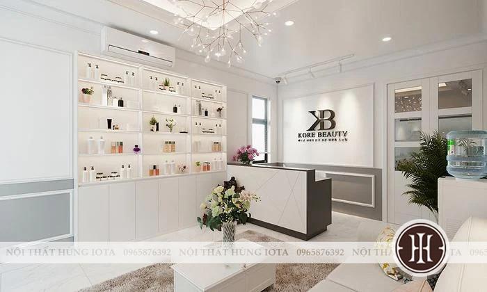 Tủ sản phẩm spa màu trắng, hay tủ trung bày mỹ phẩm spa màu trắng đẹp giá rẻ
