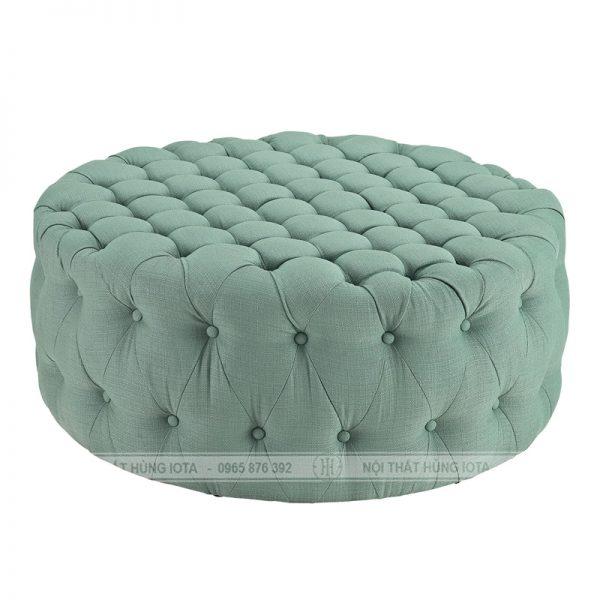 Đôn trụ tròn sofa màu xanh dương, ghế đôn trụ tròn sofa