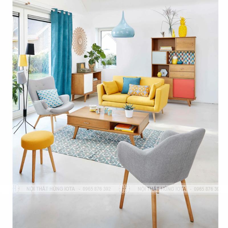 Ghế sofa gia đình đơn giản màu vàng có tựa
