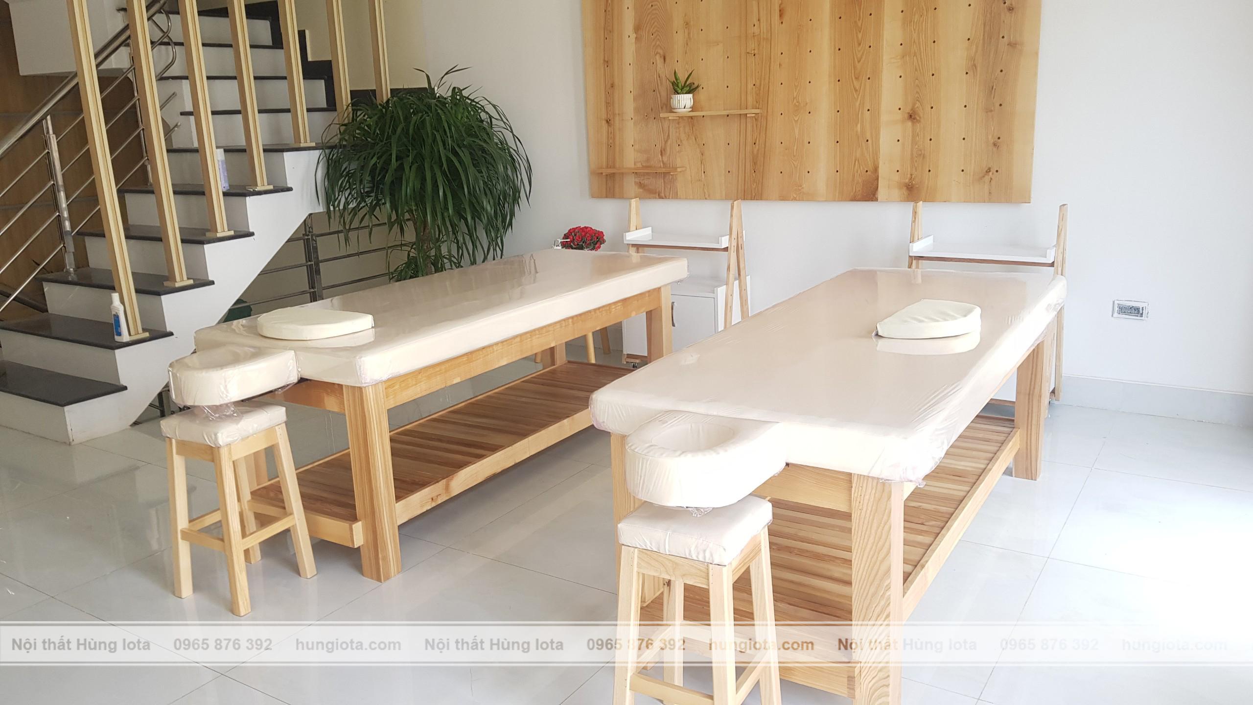 Giường spa gỗ decor & kệ treo tường decor cho spa, thẩm mỹ viện
