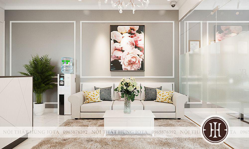 Lắp đặt nội thất phòng khách spa trắng - sofa spa trắng - quầy thu ngân spa trắng