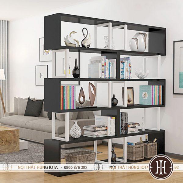 Tủ salon tóc hay tủ đựng sách phòng khách màu đen