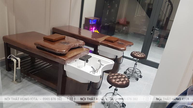 Giường gội massage 2 in 1 màu óc chó gỗ sồi tại Long Biên