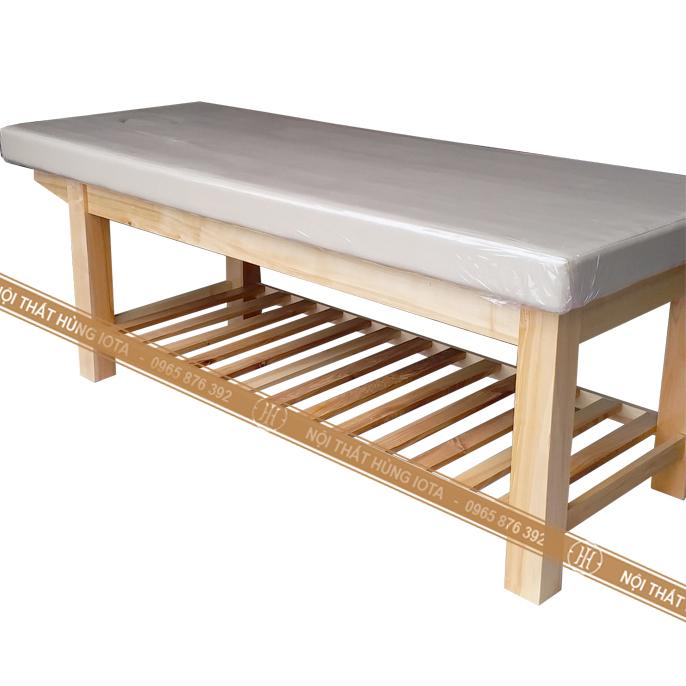 Giường spa gỗ sồi màu trắng be