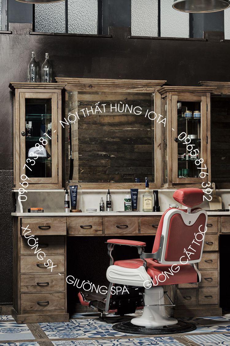 Gương tủ cắt tóc tân cổ điển màu gỗ tự nhiên, tủ barber