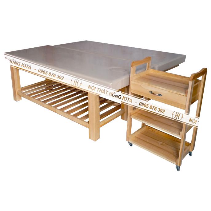 Xe đẩy spa gỗ sồi và giường massage gỗ sồi màu vàng gỗ tự nhiên