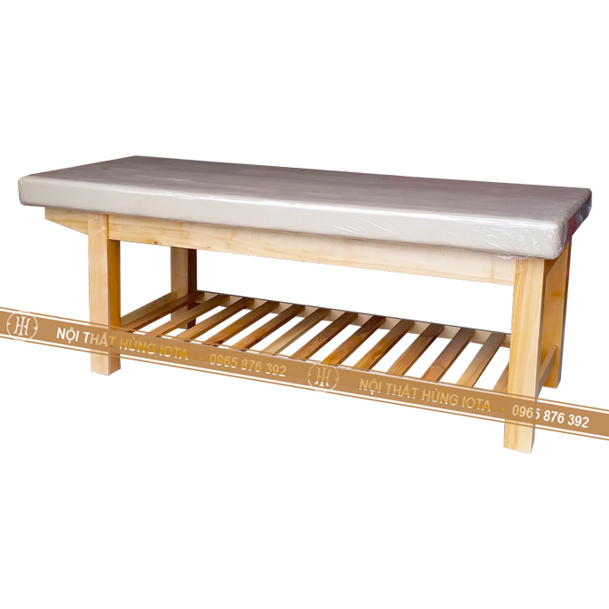 Giường massage gỗ sồi màu trắng be
