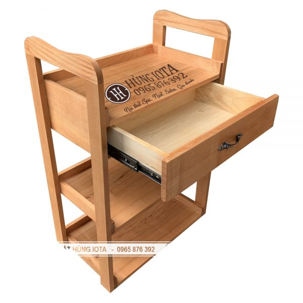 Kệ đẩy spa 3 tầng gỗ sồi sồi sơn màu gỗ tự nhiên
