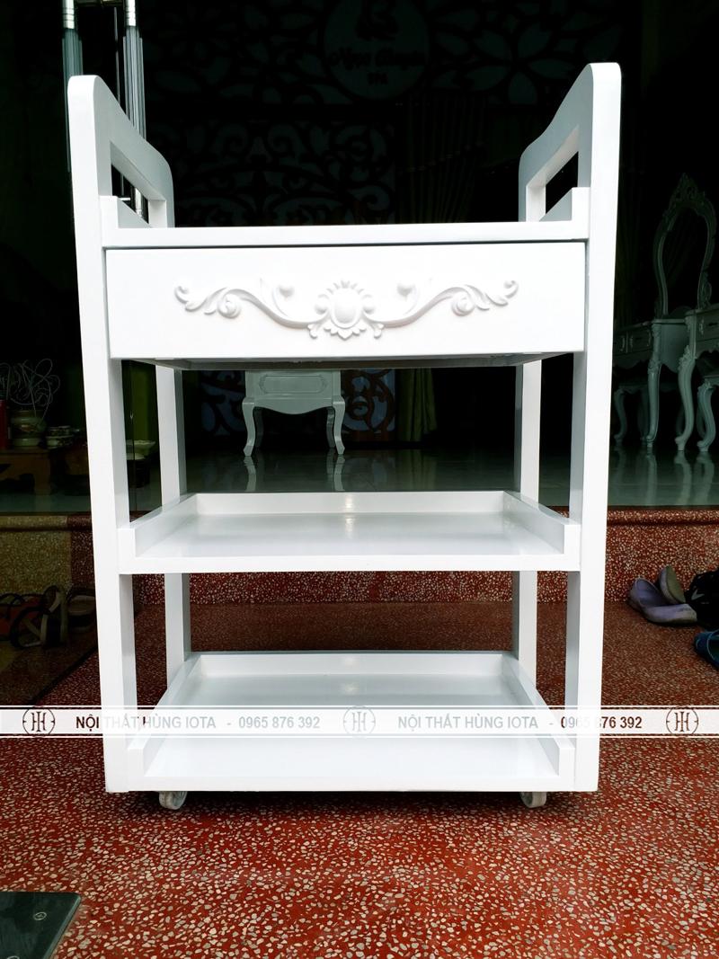 Kệ đẩy spa cổ điển giá rẻ màu trắng - đựng đồ, dụng cụ spa, nail