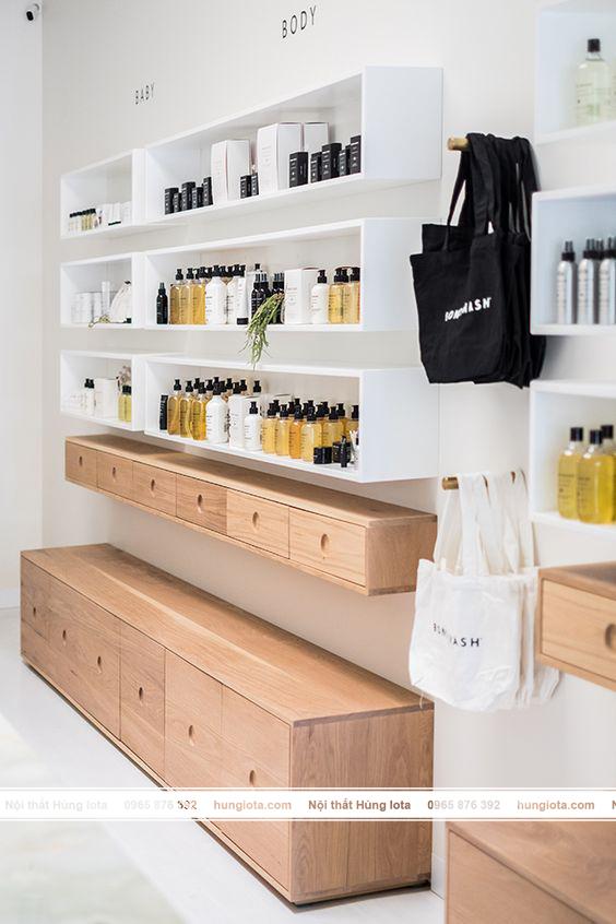 Tủ đựng sản phẩm dầu gội đầu salon tóc decor