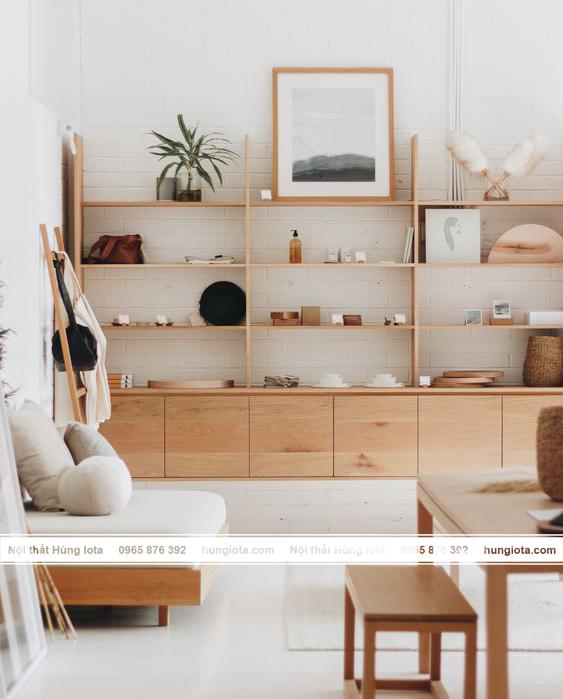 Nội thất spa decor - tủ gỗ đựng mỹ phẩm spa decor