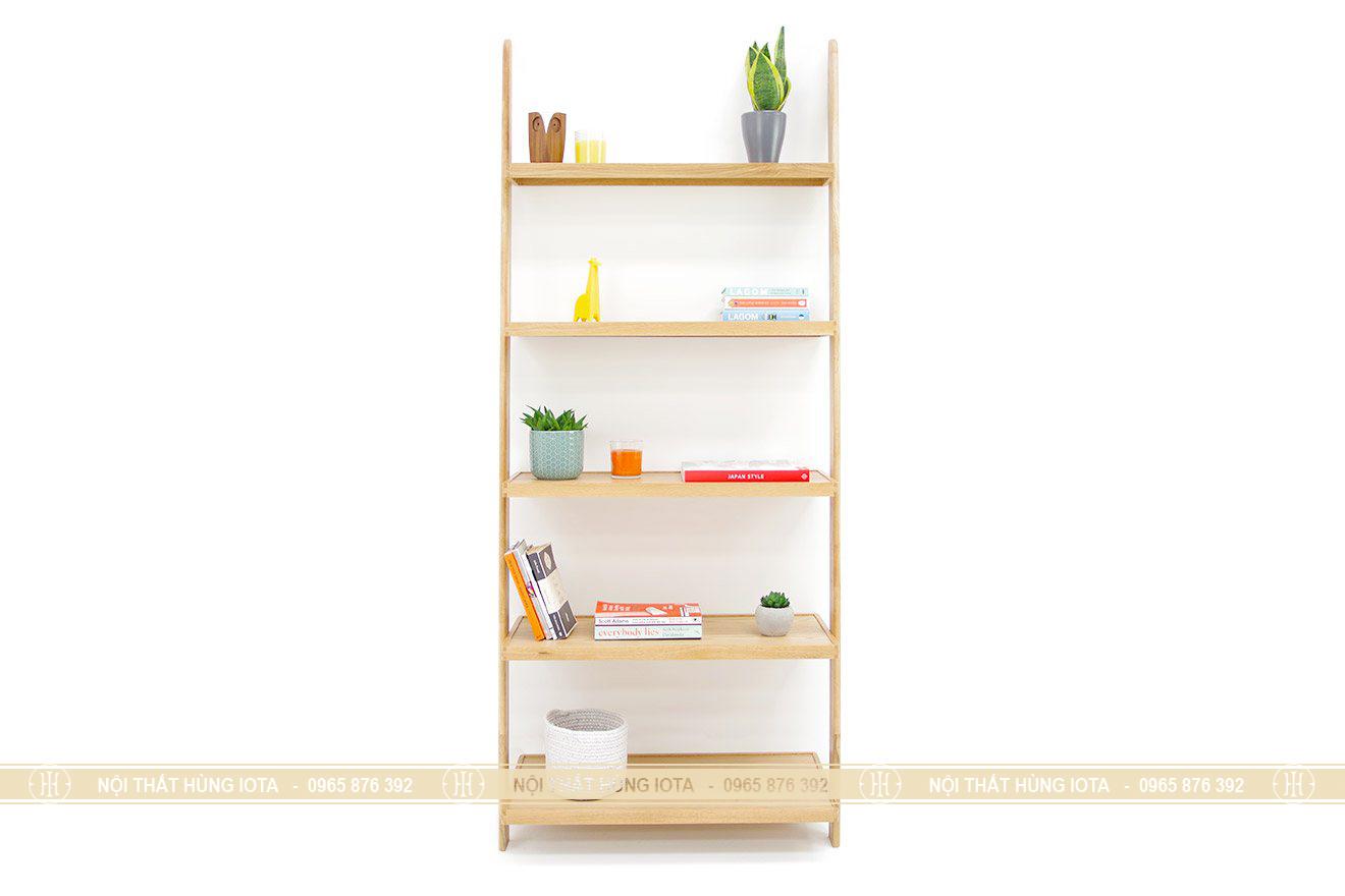 Giá đỡ hình thang 5 tầng gỗ sồi decor đựng đồ như sách, giày