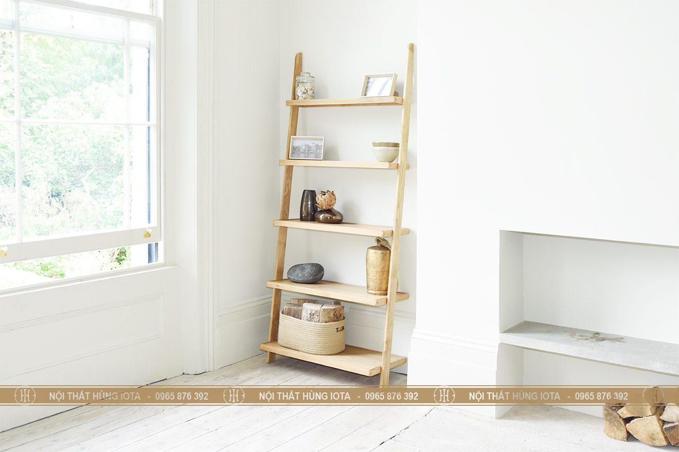 Giá gỗ hình thang gỗ sồi đựng đồ trang trí phòng khách gia đình, nail, spa