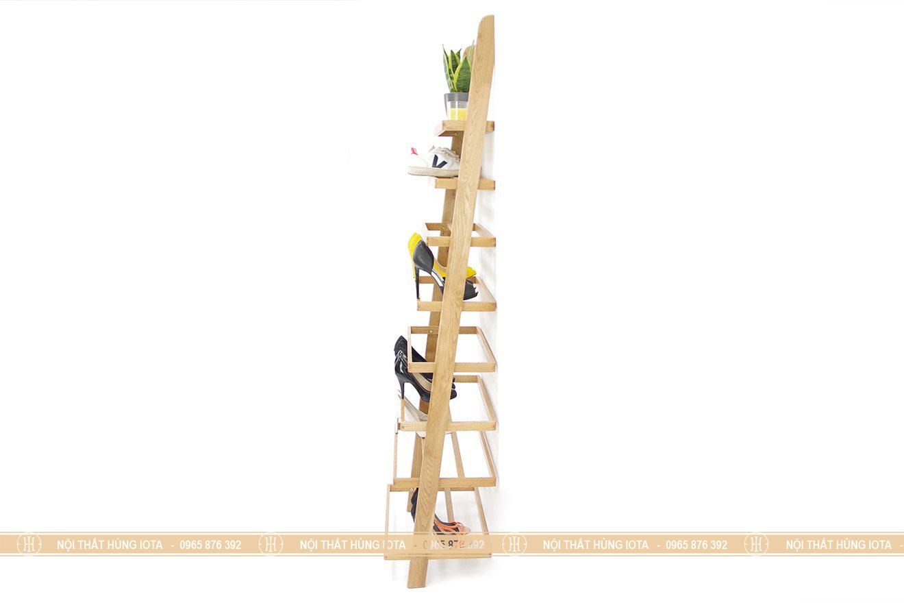 Giá gỗ để giày hình thang decor cho phòng khách gia đình, spa, nail