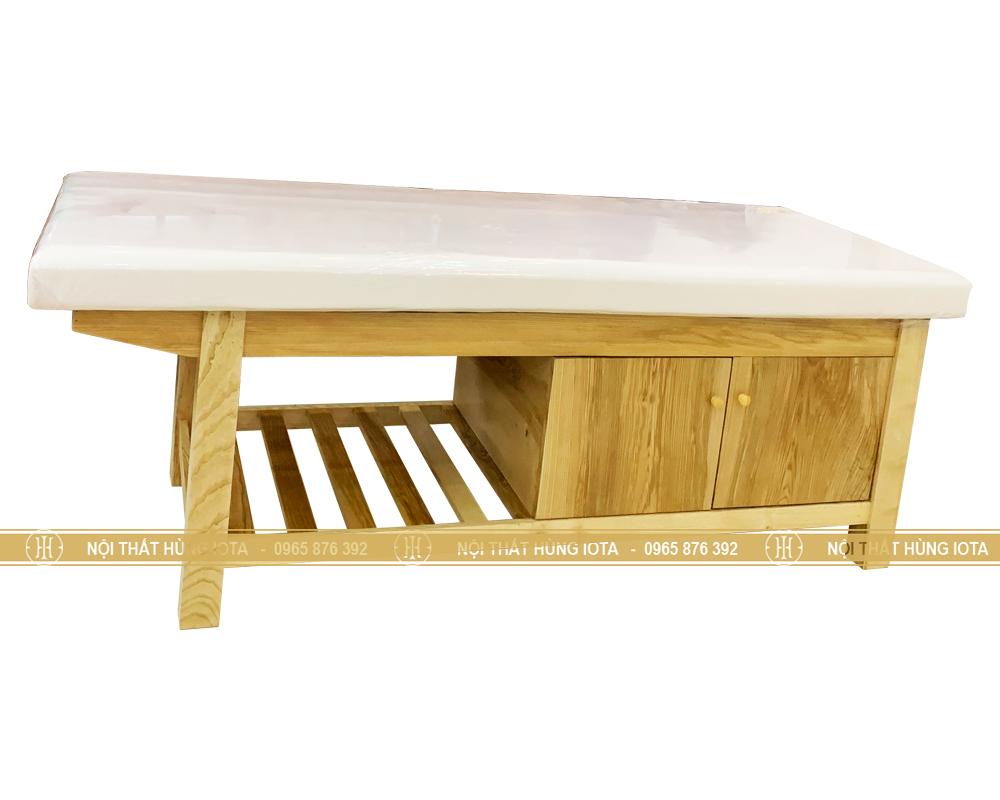 Giường bấm huyệt gỗ sồi có tủ đẹp giá rẻ