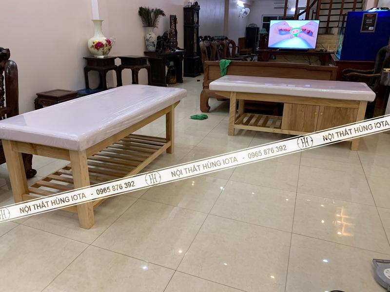 Giường spa gỗi sồi có tủ lắp đặt tại Đồng Kỵ Bắc Ninh