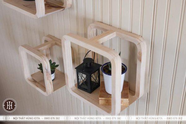 Kệ decor hình vuông khoét gỗ treo tường