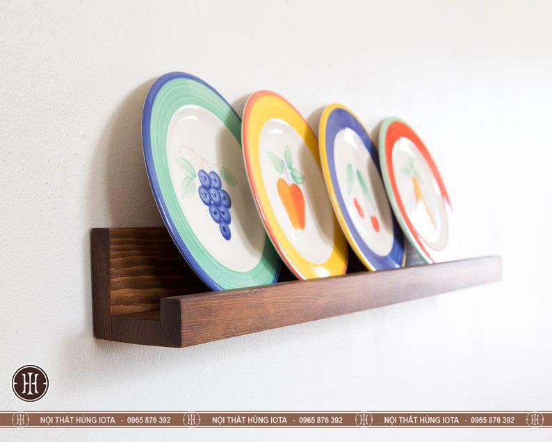 Kệ đựng đĩa treo tường decor gỗ đẹp