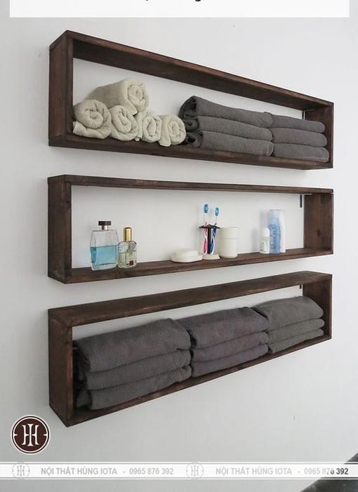 Kệ đựng khăn treo tường cho spa, tiệm nail, salon tóc và phòng tắm