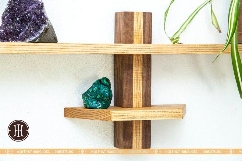 Kệ gỗ decor ngang treo tường tiệm nail