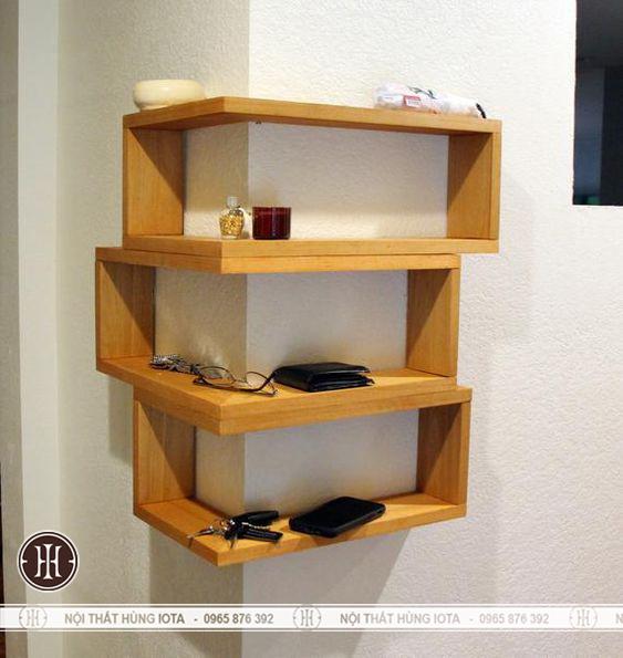 Kệ gỗ đựng đồ treo cột tường nhà, spa, nail, salon tóc