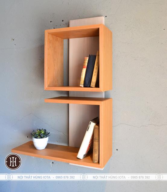 Kệ gỗ đựng sách treo tường phòng khách decor