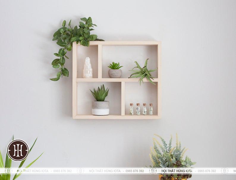 Kệ gỗ hình chữa nhật treo tường đẹp giá rẻ
