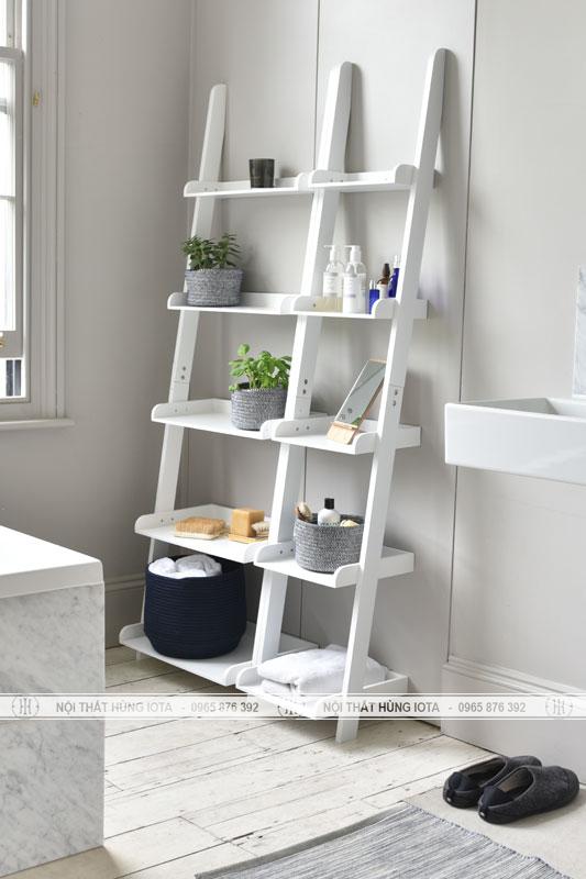 Kệ gỗ hình thang decor đẹp giá rẻ cho spa, nail, salon tóc