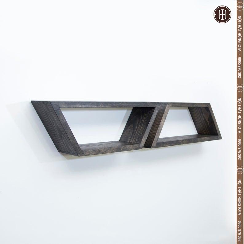 Kệ gỗ hình thang nhỏ trang trí phòng màu xám
