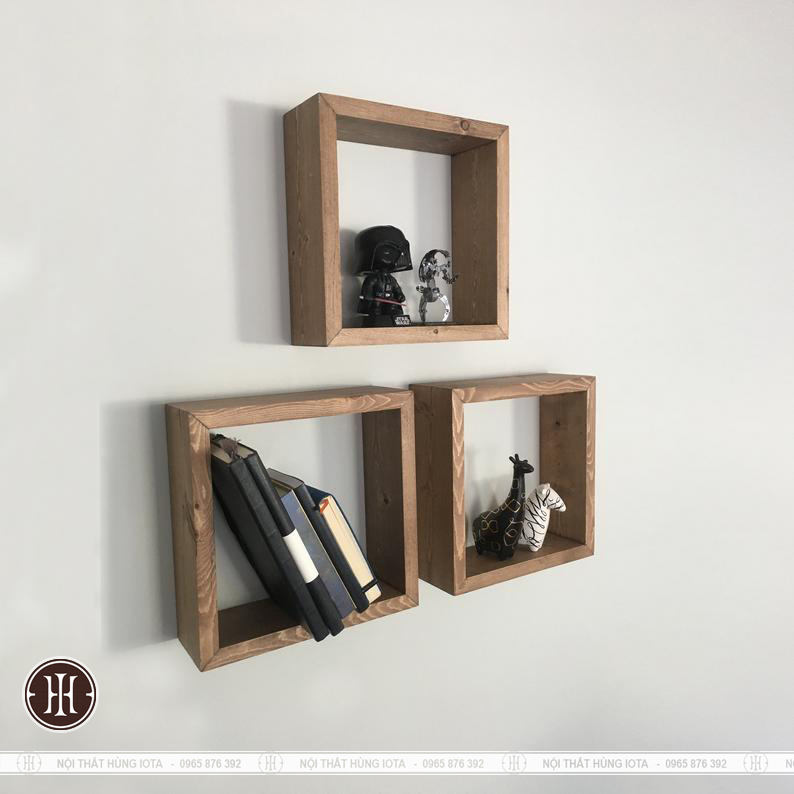 Kệ gỗ hình vuông đơn giản treo tường