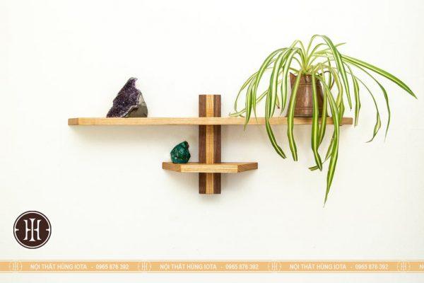 Kệ gỗ ngang decor treo tường trang trí phòng đựng cây