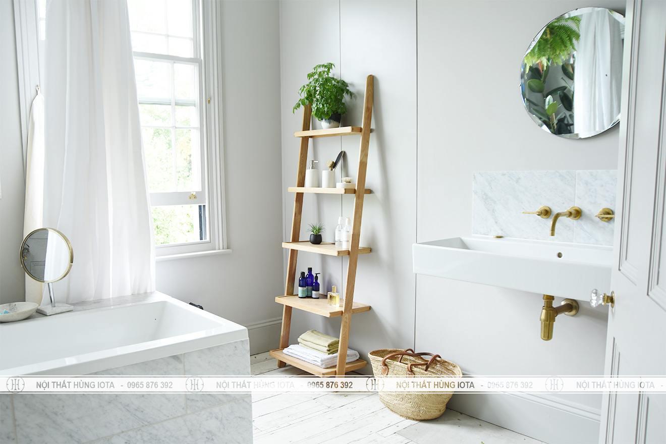 Kệ gỗ sồi 5 tầng đựng khăn cho nhà tắm, spa, salon tóc