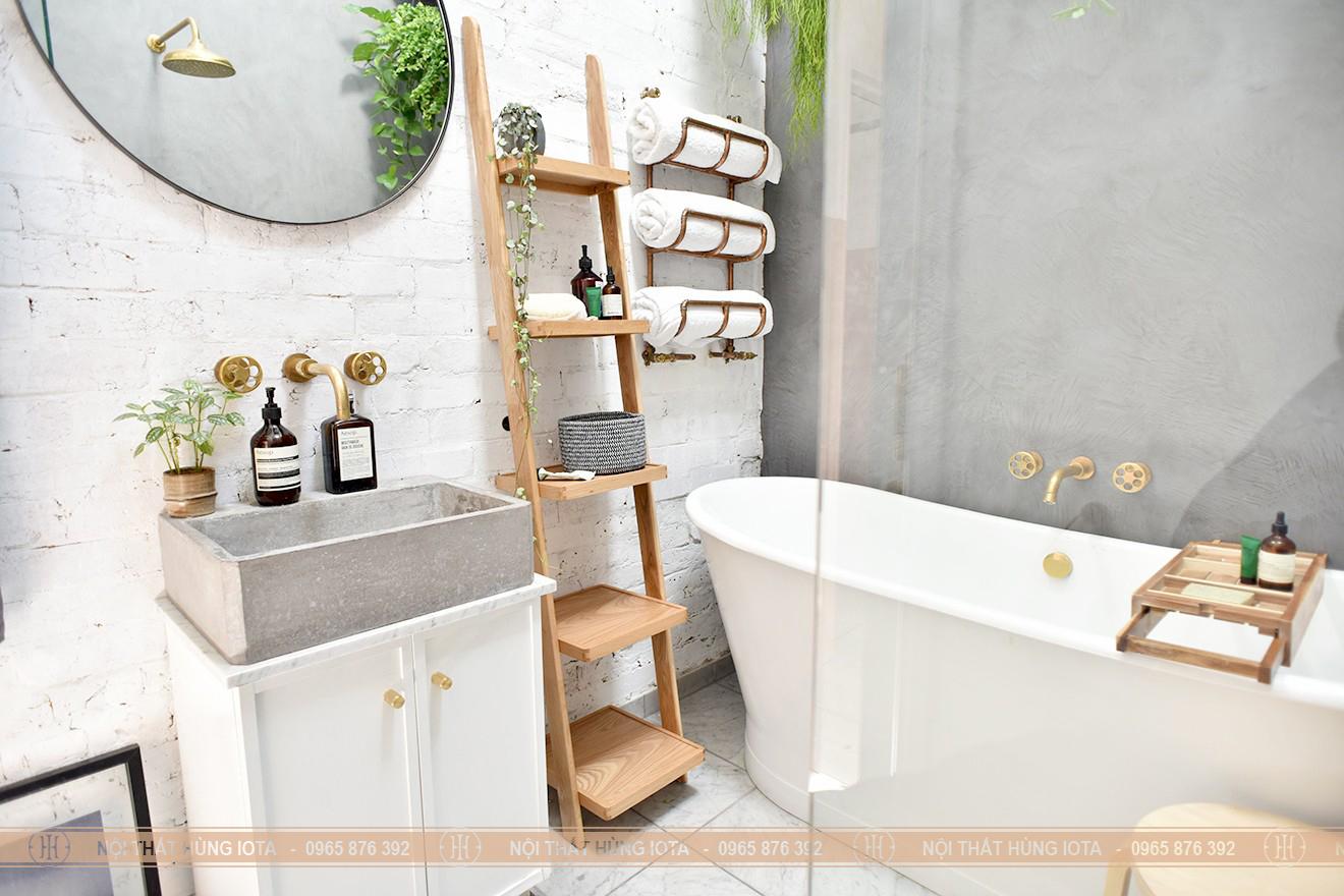 Kệ gỗ sồi 5 tầng đựng khăn, dầu gội ở nhà tắm, salon tóc
