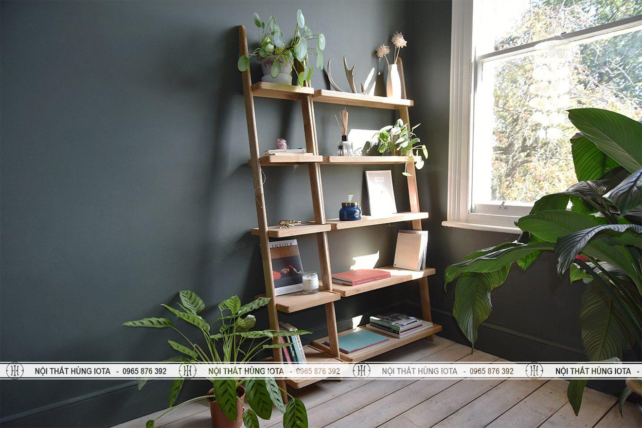 Kệ gỗ sồi decor 5 tầng trang trí phòng khách