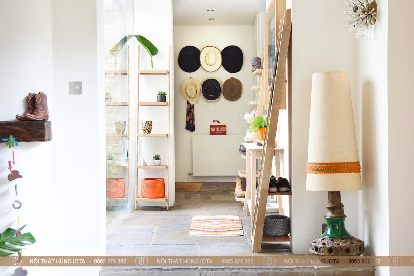 Kệ gỗ sồi nhỏ thẳng 5 tầng đựng giày đựng sách, đựng đồ lặt vặt