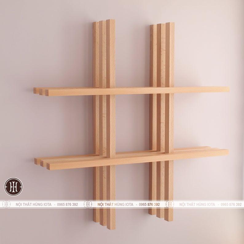 Kệ gỗ treo tường dấu cộng decor đẹp giá rẻ cho spa, nail, gia đình
