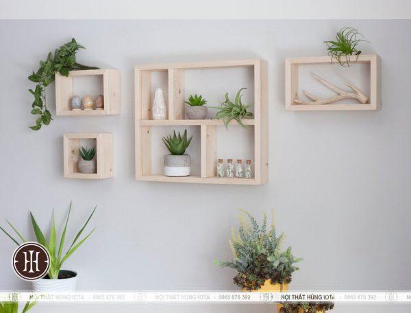 Kệ gỗ treo tường hình chữ nhật cho spa giá xưởng
