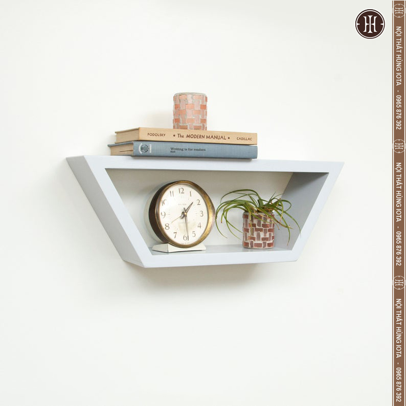Kệ gỗ treo tường hình thang trang trí nội thất gia đình màu trắng