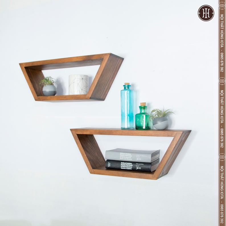 Kệ gỗ treo tường spa hình thang trang trí phòng