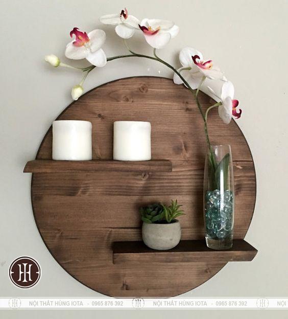 Kệ gỗ tròn và đợt ngang trang trí phòng cho spa, salon, nail, mi