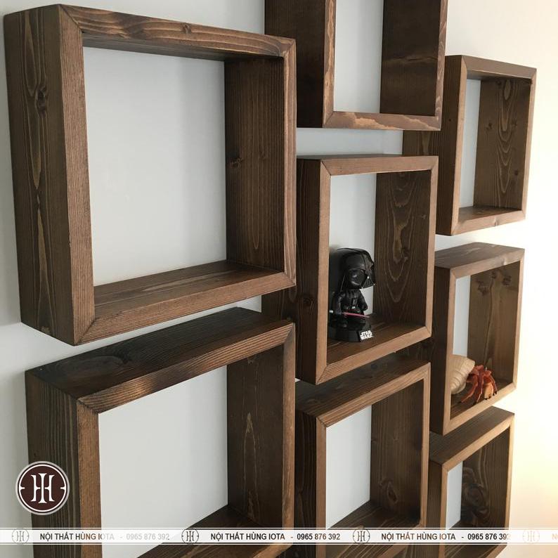 Kệ gỗ vuông trang trí phòng spa, nail, salon tóc giá rẻ