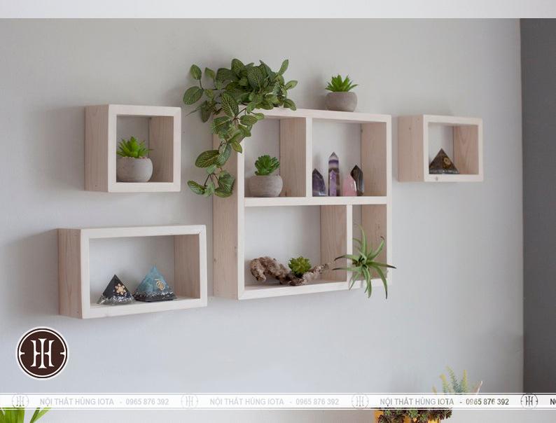 Kệ hình chữ nhật treo tường cho phòng khách đẹp