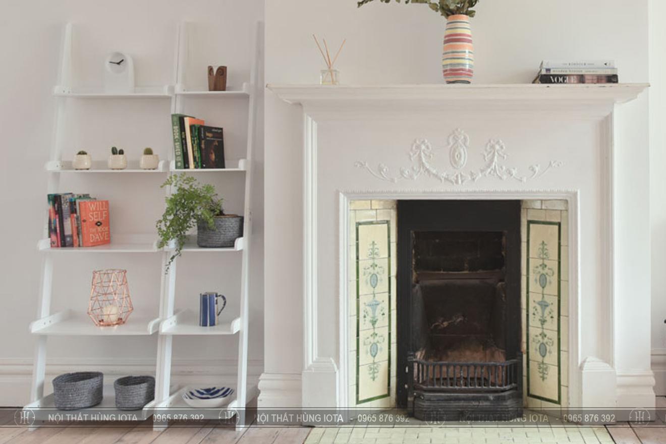 Kệ hình thang gỗ màu trắng decor trang trí, đựng đồ cho phòng khách