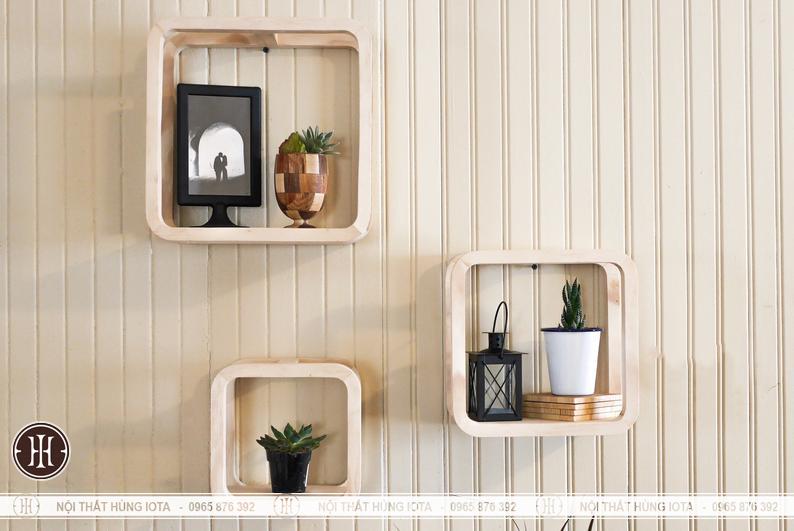 Kệ khung gỗ hình vuông treo tường