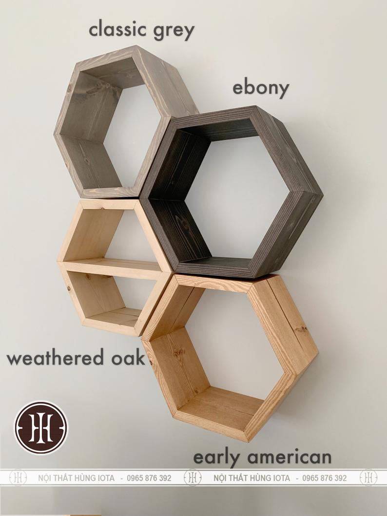 Kệ lục giác decor gỗ treo tường cho spa