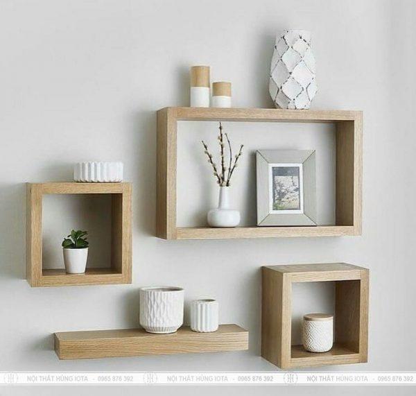 Kệ ô treo tường decor gỗ trang trí spa